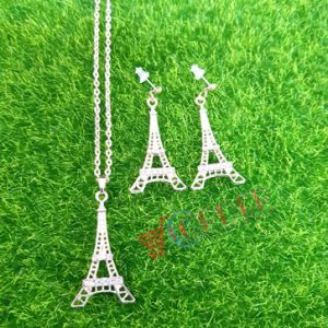 Women Jewelry Classic Necklace eiffel tower Necklace and Earing set
