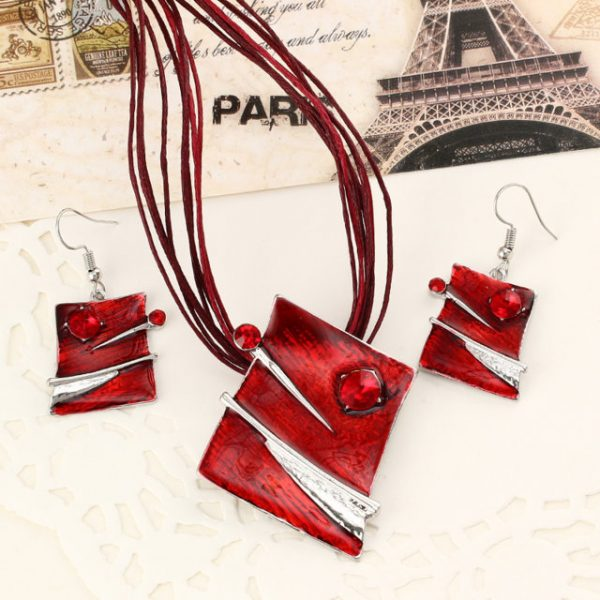 Fashion Brown Red Enamel Jewelry Sets Pendant Earring Set