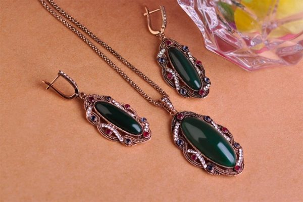 Jewelry Sets CZ Stone Green Color Earrings Necklaces