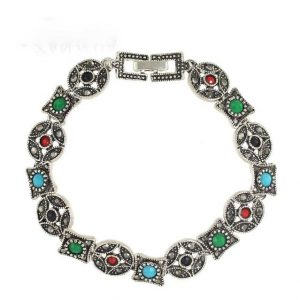 Silver Color with Colorful Beads Geometric Chain Bracelet
