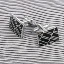 1pair Vintage Men's Stainless Steel Silver Square Wedding Gift Grid
