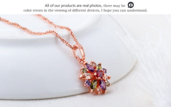 Rose Gold Silver Link Chain Crystal Necklaces