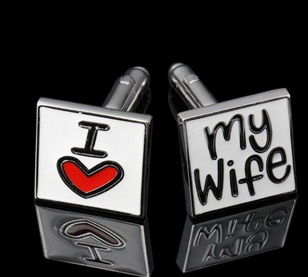 Square Cuff Button Love My Wife