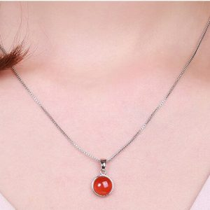 Long Round Link Chain Pendant
