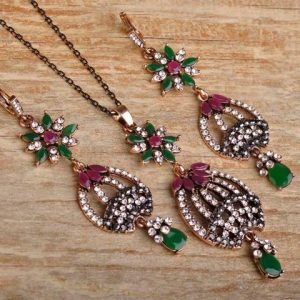 Flower Necklace Earring Set Hollow Out Mosaic Crystal Pendants