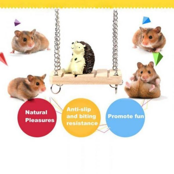 Hamster Rabbit Mouse Chinchilla Wooden Hanging Pet Hammock toys