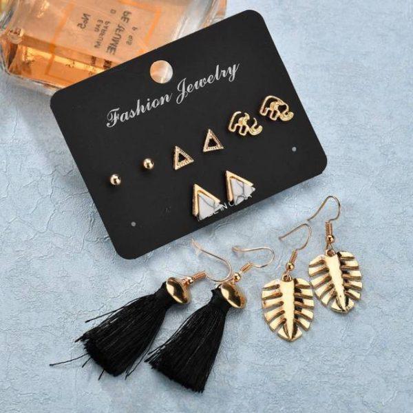 Bohemian Triangle Leaves Stud Earrings for Women