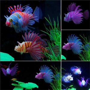 Glow In Dark Artificial Aquarium Lionfish Ornament Fish Tank