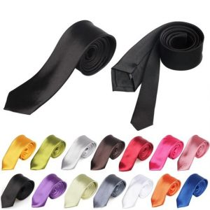 Tie for Men Slim Tie Solid color Necktie Polyester Narrow