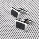 Black Rectangle Cufflinks Mens Shirt Cuff Button