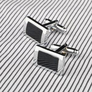 Black Rectangle Cufflinks Mens Shirt Cuff Button