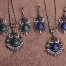 Round Green Drop Necklace Earrings Jewelry Set
