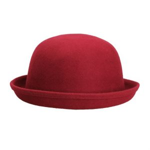Women Men Woolen Roll Brim Bowler Hats