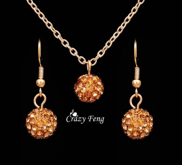 Jewelry Sets Rhinestone ball Necklace Earrings