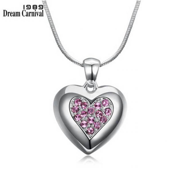 Pink Crystals Heart Pendant Necklace for Women