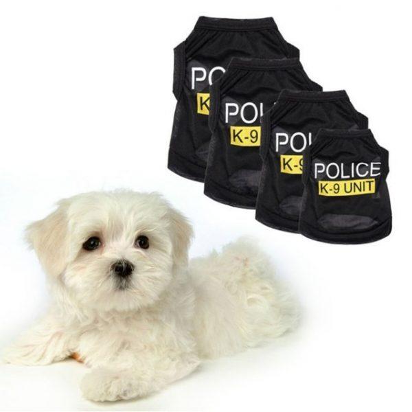 Police Black Elastic Vest Puppy T-Shirt