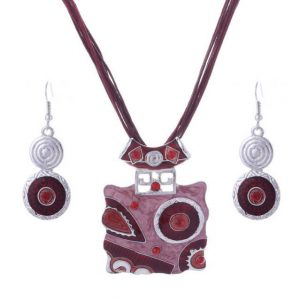 African Jewelry Set Crystal Gem Pendant