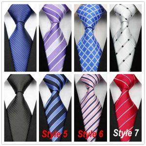 Striped Plaid Silk Polyester Ties